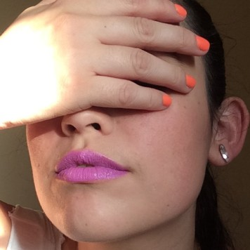 Purple lips and orange nails