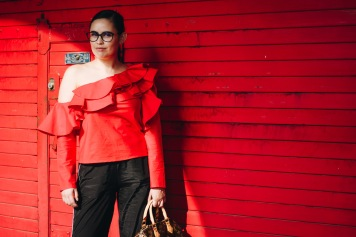 From POST: Sporty-sh Pants and Ruffle Red Top