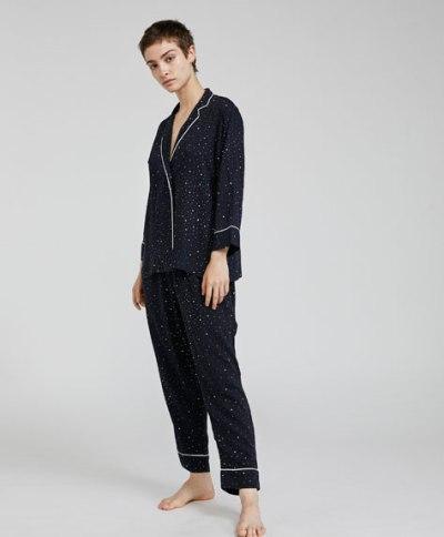 Mini star print pyjama shirt