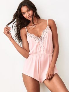 Lace-detail Sleep Romper
