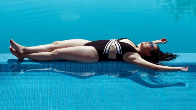 sleeping over the pool